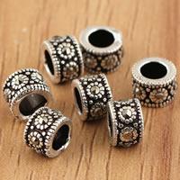 Thailand Großes Loch Perlen, Rondell, mit Strass, 5x3.8mm, Bohrung:ca. 3mm, 10PCs/Tasche, verkauft von Tasche