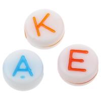 Alphabet Acryl Perlen, gemischt & Volltonfarbe, 7x3mm, Bohrung:ca. 1mm, ca. 3600PCs/Tasche, verkauft von Tasche