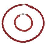 Natürliche Koralle Schmuck-Set, Armband & Halskette, Messing Verschluss, rund, 3-Strang, rot, 4mm, Länge:ca. 8 ZollInch, ca. 16.5 ZollInch, verkauft von setzen