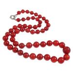 Natürliche Koralle Pullover Halskette, mit Nylonschnur, Messing Federring Verschluss, rund, abgestufte Perlen, rot, 8-14mm, verkauft per ca. 23.5 ZollInch Strang