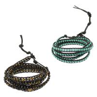 Wrap Armband , Edelstein, mit Lederband, Edelstahl Verschluss, verschiedenen Materialien für die Wahl & einstellbar & 5-litzig, 7mm, Länge:ca. 36 ZollInch, verkauft von Menge