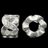 Zink Legierung Europa Perlen, Zinklegierung, Rohr, silberfarben plattiert, ohne troll & mit Strass, keine, frei von Nickel, Blei & Kadmium, 7x11mm, Bohrung:ca. 5mm, verkauft von PC