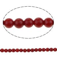 Natürliche Korallen Perlen, rund, rot, 3mm, Bohrung:ca. 0.8mm, Länge:ca. 16 ZollInch, 10SträngeStrang/Menge, ca. 40PCs/Strang, verkauft von Menge