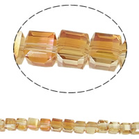 Klasse AA Kristallperlen, Kristall, Würfel, bunte Farbe plattiert, verschiedene Größen vorhanden & facettierte & AA grade crystal, Topas, Bohrung:ca. 1mm, verkauft per ca. 9-10 ZollInch Strang