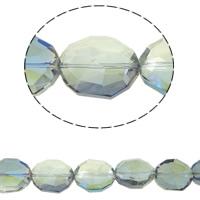 Klasse AA Kristallperlen, Kristall, oval, bunte Farbe plattiert, verschiedene Größen vorhanden & facettierte & AA grade crystal, Chrysolite AB, Bohrung:ca. 1.5mm, verkauft per ca. 15.5 ZollInch Strang