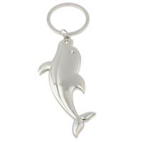 Zinklegierung Schlüsselanhänger, mit Eisen Ring, Dolphin, Platinfarbe platiniert, mit Strass, frei von Nickel, Blei & Kadmium, 34x87x6mm, Bohrung:ca. 29mm, Länge:ca. 4.5 ZollInch, 10SträngeStrang/Tasche, verkauft von Tasche