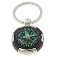Zinklegierung Schlüsselanhänger, mit Eisen Ring & Kunststoff, Kompass, Platinfarbe platiniert, mit Kompass, frei von Nickel, Blei & Kadmium, 36x44x13mm, Bohrung:ca. 29mm, Länge:ca. 3 ZollInch, 10SträngeStrang/Tasche, verkauft von Tasche