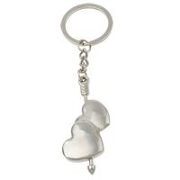 Zinklegierung Schlüsselanhänger, mit Eisen Ring, Herz, Platinfarbe platiniert, frei von Nickel, Blei & Kadmium, 23x59x6mm, Bohrung:ca. 25mm, Länge:ca. 4 ZollInch, 10SträngeStrang/Tasche, verkauft von Tasche