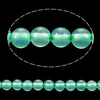 Natürliche grüne Achat Perlen, Grüner Achat, rund, 2mm, Bohrung:ca. 0.2mm, Länge:ca. 15.5 ZollInch, 10SträngeStrang/Menge, ca. 193/Strang, verkauft von Menge