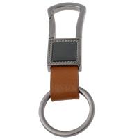 Zinklegierung Schlüssel Verschluss, mit Eisen Ring & Kuhhaut, metallschwarz plattiert, frei von Nickel, Blei & Kadmium, 20x91x7mm, Bohrung:ca. 24mm, 10PCs/Tasche, verkauft von Tasche