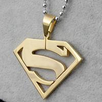Titan -Anhänger, Titanstahl, Superman Logo, goldfarben plattiert, 42x42x2mm, Bohrung:ca. 2-5mm, 3PCs/Tasche, verkauft von Tasche