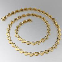 Titanstahl Kette Halskette, goldfarben plattiert, Herz Kette, 6mm, Länge:ca. 19 ZollInch, 3SträngeStrang/Tasche, verkauft von Tasche