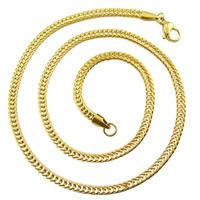 Titanstahl Kette Halskette, goldfarben plattiert, Weizen Kette, 3.5x2mm, verkauft per ca. 24 ZollInch Strang