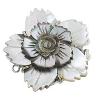 Messing Schnappschließe, mit Schwarze Muschel, Blume, platiniert, 3-Strang, frei von Nickel, Blei & Kadmium, 40x40x11mm, Bohrung:ca. 1mm, verkauft von PC