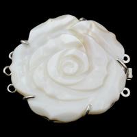 Messing Schnappschließe, mit Weiße Muschel, Blume, platiniert, 3-Strang, frei von Nickel, Blei & Kadmium, 49x44x8mm, Bohrung:ca. 1mm, verkauft von PC