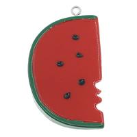 Harz Anhänger, mit Eisen, Wassermelone, Volltonfarbe, farbenfroh, 29x53x7mm, Bohrung:ca. 2mm, 100PCs/Tasche, verkauft von Tasche