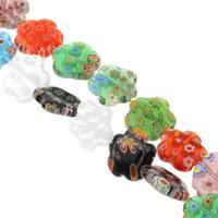 Millefiori Glasperlen, Glas Millefiori, Blume, handgemacht, verschiedene Größen vorhanden, gemischte Farben, Bohrung:ca. 1mm, Länge:ca. 14.5 ZollInch, verkauft von Tasche