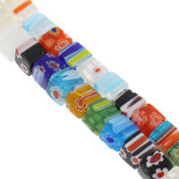 Millefiori Glasperlen, Glas Millefiori, Würfel, handgemacht, verschiedene Größen vorhanden, gemischte Farben, Bohrung:ca. 1mm, verkauft per ca. 13.5 ZollInch Strang