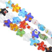 Millefiori Glasperlen, Glas Millefiori, Stern, handgemacht, verschiedene Größen vorhanden, gemischte Farben, Bohrung:ca. 1mm, Länge:ca. 12.5 ZollInch, verkauft von Tasche