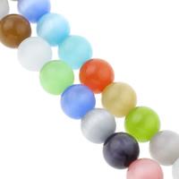 Cats Eye Perlen Schmuck, Katzenauge, rund, verschiedene Größen vorhanden, gemischte Farben, Bohrung:ca. 1mm, verkauft per ca. 14 ZollInch Strang