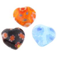 Glas Millefiori Cabochon, Herz, handgemacht, verschiedene Größen vorhanden & flache Rückseite, gemischte Farben, 100PCs/Tasche, verkauft von Tasche