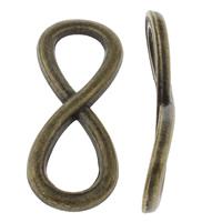 Unendlichkeit Zinklegierung Schmuckverbinder, Unendliche, plattiert, 1/1-Schleife, keine, frei von Nickel, Blei & Kadmium, 13x33x2mm, Bohrung:ca. 11mm, ca. 400PCs/kg, verkauft von kg