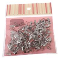 Eisen Bail-Einstellung, mit OPP, Platinfarbe platiniert, frei von Nickel, Blei & Kadmium, 4x11x5mm, 100x170mm, Bohrung:ca. 3.5x10mm, 200PCs/Tasche, verkauft von Tasche
