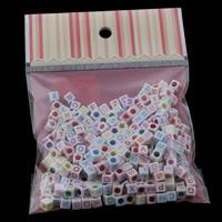Alphabet Acryl Perlen, gemischt & Volltonfarbe, 6x6mm, 100x170mm, Bohrung:ca. 3mm, ca. 210PCs/Tasche, verkauft von Tasche