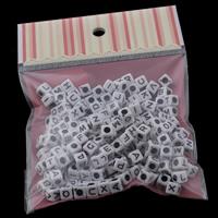 Alphabet Acryl Perlen, Würfel, gemischtes Muster & Volltonfarbe, 7x7mm, 100x170mm, Bohrung:ca. 3mm, ca. 120PCs/Tasche, verkauft von Tasche