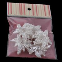 ABS Kunststoff Perlkappen, mit OPP, Blume, Nachahmung Perle, weiß, 46x56x12mm, 100x170mm, Bohrung:ca. 2mm, 5PCs/Tasche, verkauft von Tasche