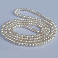 Natürliche Süßwasser Perle Halskette, Natürliche kultivierte Süßwasserperlen, Knopf, unterschiedliche Länge der Wahl, weiß, 7-8mm, verkauft von Strang