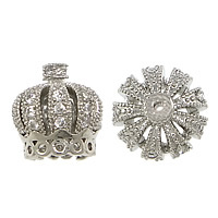 Messing Stiftöse Perlen, Krone, platiniert, Micro pave Zirkonia & hohl, frei von Nickel, Blei & Kadmium, 10x11mm, Bohrung:ca. 1mm, 10PCs/Menge, verkauft von Menge