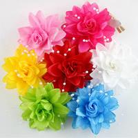 Haarschmuck DIY Ergebnisse, Etamine, mit Glas-Rocailles, Blume, für Kinder, gemischte Farben, 75mm, 50PCs/Menge, verkauft von Menge
