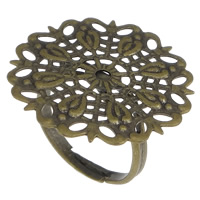 Messing filigrane Ringbasis, Blume, antike Bronzefarbe plattiert, frei von Nickel, Blei & Kadmium, 25mm, Größe:7, 50PCs/Menge, verkauft von Menge
