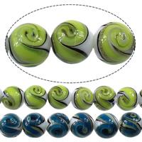 Goldsand Lampwork Perlen, rund, keine, 12mm, Bohrung:ca. 2mm, Länge:ca. 13.5 ZollInch, 2SträngeStrang/Menge, ca. 30PCs/Strang, verkauft von Menge
