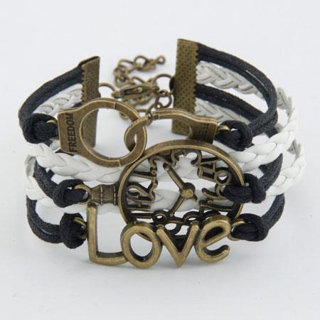 Kombiniertes Armband, Zinklegierung, HandschelleHandfessel & UhrTaxameter & LiebeSchatz, mit PU Leder, antike Bronzefarbe plattiert, 5-litzig, frei von Blei & Kadmium, 165mm, verkauft per ca. 6.5 ZollInch Strang