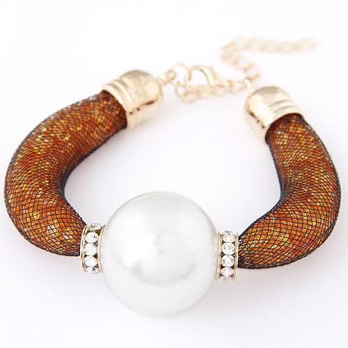 Gitter Rohr Armband, Zinklegierung, mit ABS-Kunststoff-Perlen & Kunststoff Maschen Kette & Strass, rund, goldfarben plattiert, weiß, frei von Blei & Kadmium, 200x30mm, verkauft per ca. 7.87 ZollInch Strang