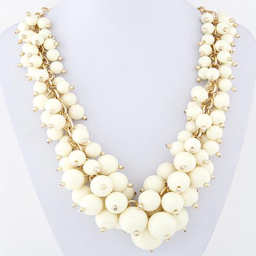 Mode Statement Halskette, Zinklegierung, mit Harz, goldfarben plattiert, weiß, frei von Blei & Kadmium, 45mm, verkauft per ca. 15.5 ZollInch Strang