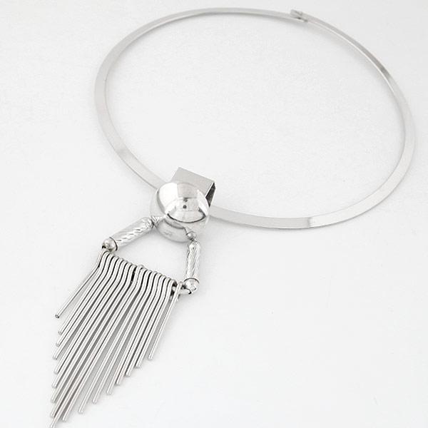 Mode-Fringe-Halskette, Zinklegierung, Platinfarbe platiniert, frei von Blei & Kadmium, 125mm, verkauft per ca. 15.45 ZollInch Strang