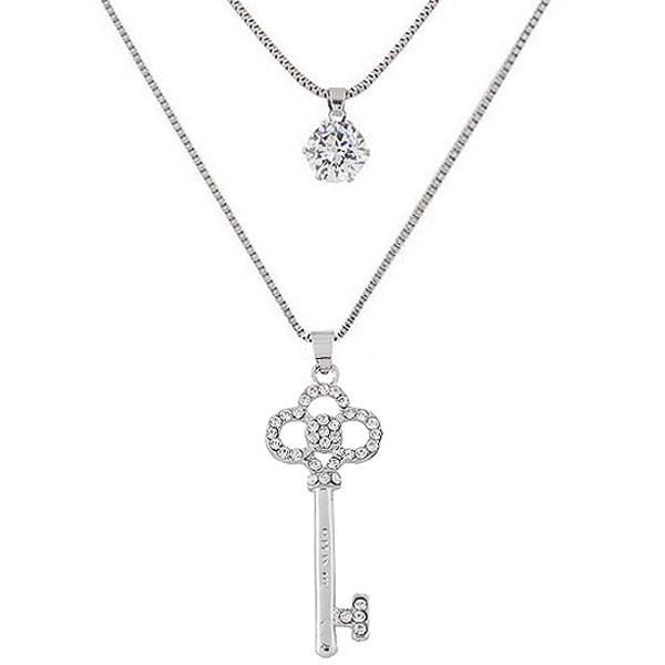 Mode-Multi-Layer-Halskette, Zinklegierung, Schlüssel, Platinfarbe platiniert, Kastenkette & mit Strass & 2 strängig, frei von Blei & Kadmium, 550*700mm, verkauft per 21.65 ZollInch Strang