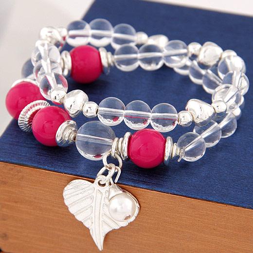 Glasperlen Armband, Zinklegierung, mit Glas, Herz, Platinfarbe platiniert, Armband  Bettelarmband & 2 strängig, hochrot, frei von Blei & Kadmium, 170x24mm, verkauft per ca. 6.69 ZollInch Strang