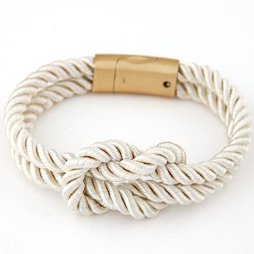 Nylonschnur Armbänder, Zinklegierung Verschluss, goldfarben plattiert, weiß, 170mm, verkauft per ca. 6.5 ZollInch Strang