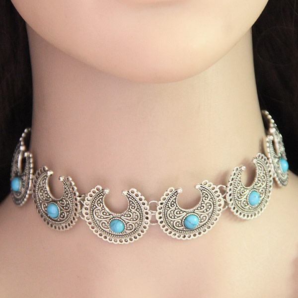 Mode-Halskette, Zinklegierung, mit Synthetische Türkis, antik silberfarben plattiert, frei von Blei & Kadmium, 300mm, verkauft per ca. 11.81 ZollInch Strang