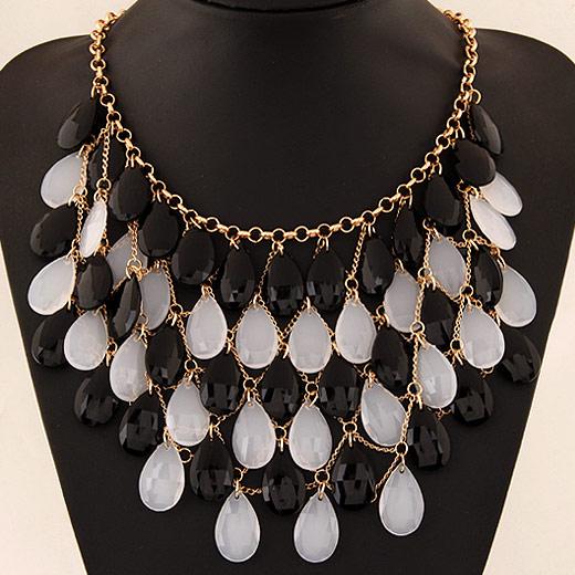 Harz Halskette, Zinklegierung, mit Harz, Tropfen, goldfarben plattiert, Rolo Kette, grau, frei von Blei & Kadmium, 420x180x120mm, verkauft per ca. 16.54 ZollInch Strang