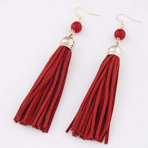 Mode-Fringe-Ohrringe, Zinklegierung, mit Baumwollsamt, goldfarben plattiert, rot, frei von Blei & Kadmium, 120x12mm, verkauft von Paar