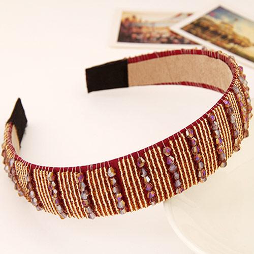 Haarreif, Kunststoff, mit Kristall, rot, 140x125x28mm, verkauft von PC