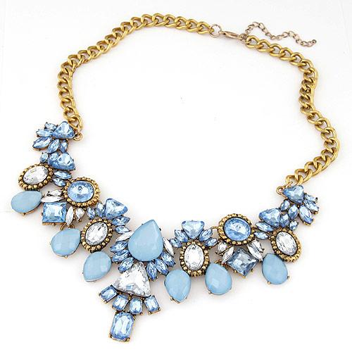 Mode Statement Halskette, Zinklegierung, mit Harz, Blume, antike Bronzefarbe plattiert, Twist oval, blau, frei von Blei & Kadmium, 400mm, verkauft per ca. 15.75 ZollInch Strang