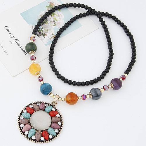 Glas Pullover Kette Halskette, Zinklegierung, mit Katzenauge & Glas, plattiert, mit Strass, frei von Blei & Kadmium, 700x55mm, Länge:ca. 27.56 ZollInch, verkauft von PC