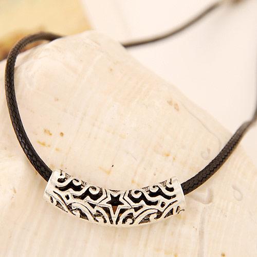 Gewachste Nylon Halsband, Zinklegierung, mit Gewachste Nylonschnur, antik silberfarben plattiert, frei von Blei & Kadmium, 420x37x8mm, verkauft per ca. 16.54 ZollInch Strang