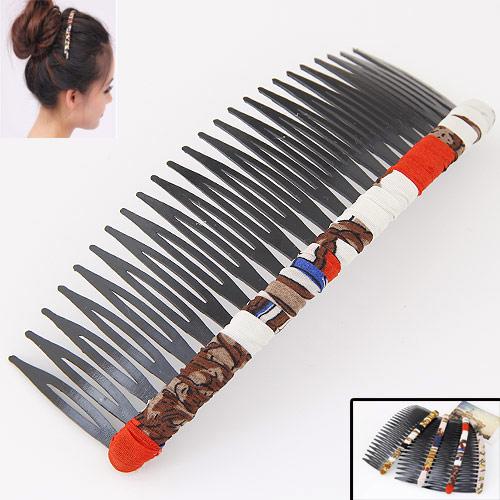 Dekoratives Haarkämmchen, Eisen, mit Stoff, Spritzlackierung, frei von Blei & Kadmium, 120x48mm, verkauft von PC